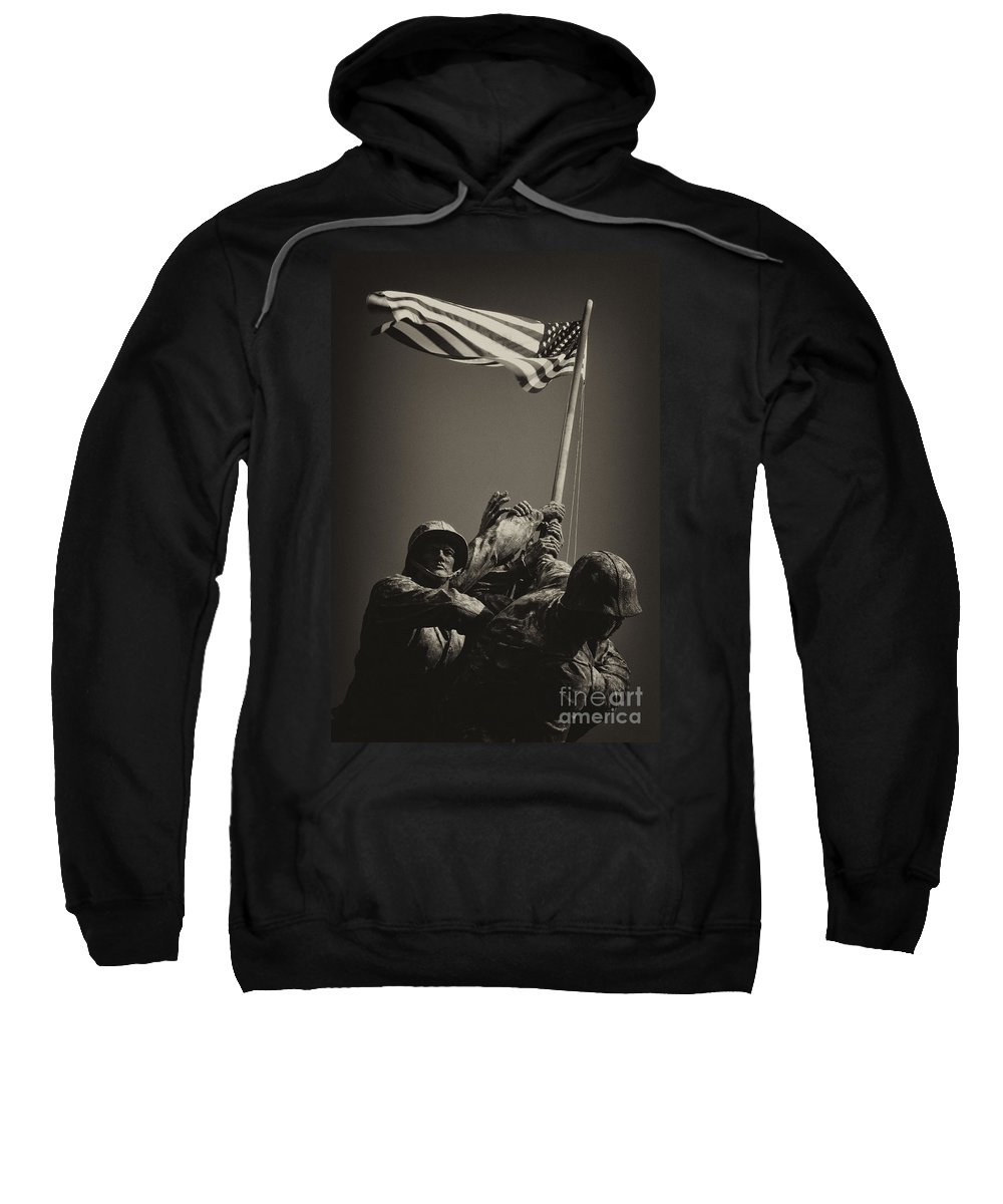 Marines Sweatshirt featuring the photograph Raising The Flag On Iwo - Front by Paul W Faust - Impressions of Light