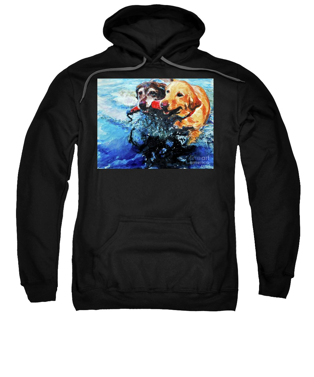 Labrador Retrievers Sweatshirt featuring the painting Red Bumper by Molly Poole