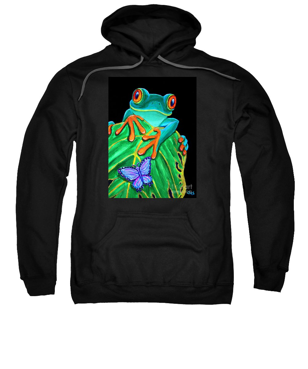 Red Eyed Tree Frog Sweatshirt featuring the painting Red-eyed Tree Frog And Butterfly by Nick Gustafson