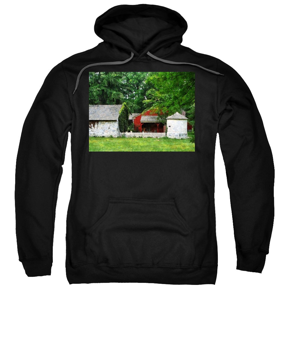 Silo Sweatshirt featuring the photograph Red Farm Shed by Susan Savad