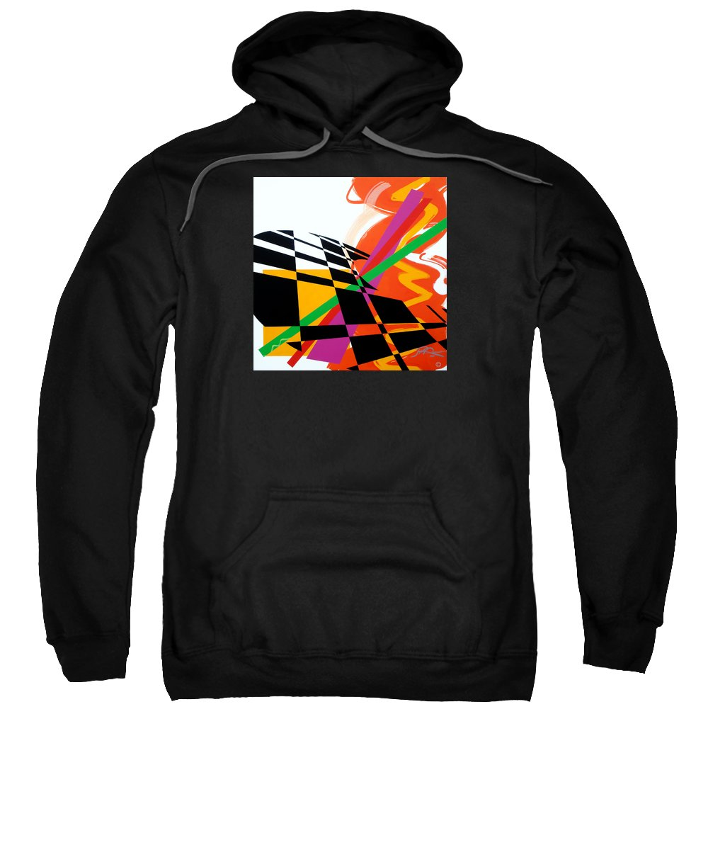 Abstract Sweatshirt featuring the painting Red Movement by Jean Pierre Rousselet