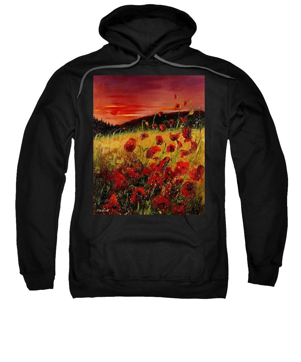 Poppies Sweatshirt featuring the painting Red Poppies And Sunset by Pol Ledent