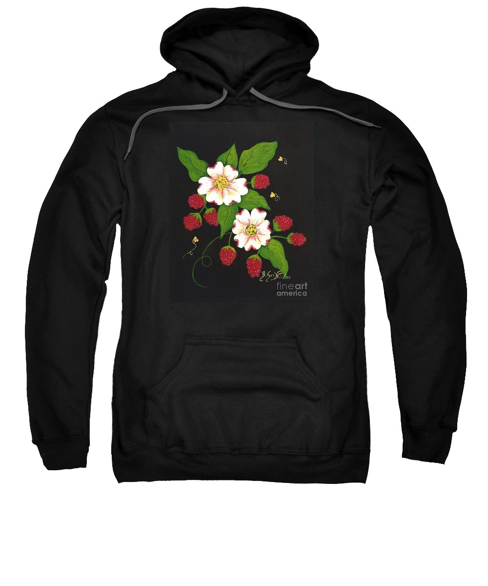 Barbara Griffin Sweatshirt featuring the painting Red Raspberries And Dogwood Flowers by Barbara Griffin
