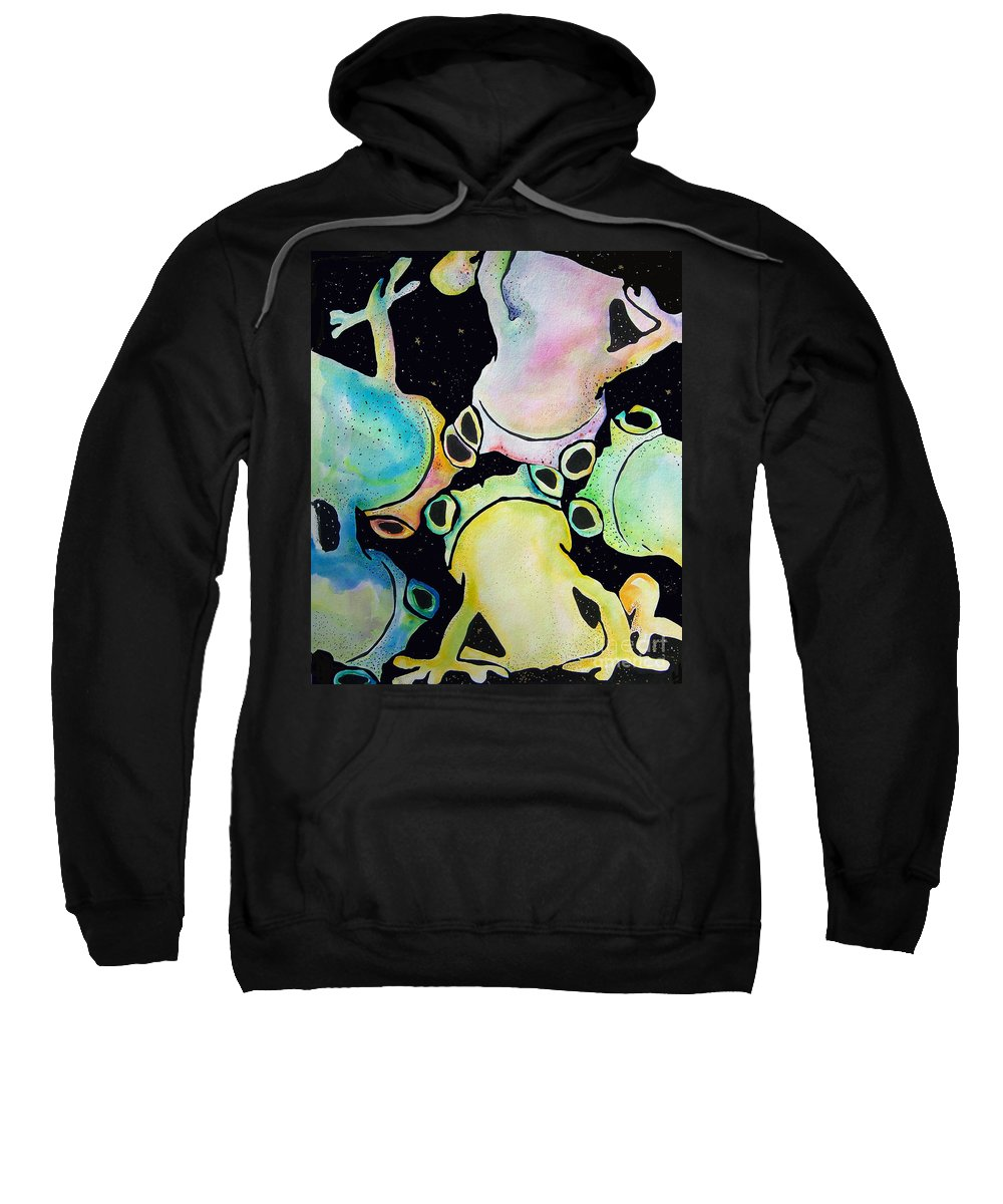 Pat Saunders-white Sweatshirt featuring the mixed media Reflecting Pond by Pat Saunders-White