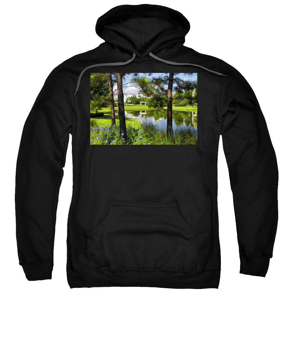 Landscapes Sweatshirt featuring the photograph Reflections In A Tranquil Pond by Thomas Woolworth