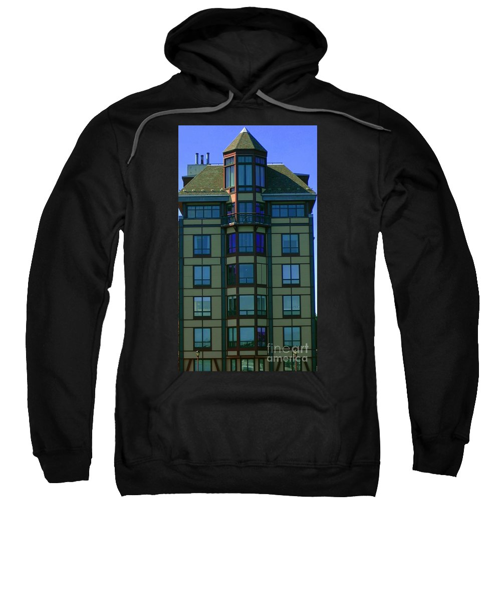 Building Sweatshirt featuring the photograph Reflections In Windows by Kathleen Struckle