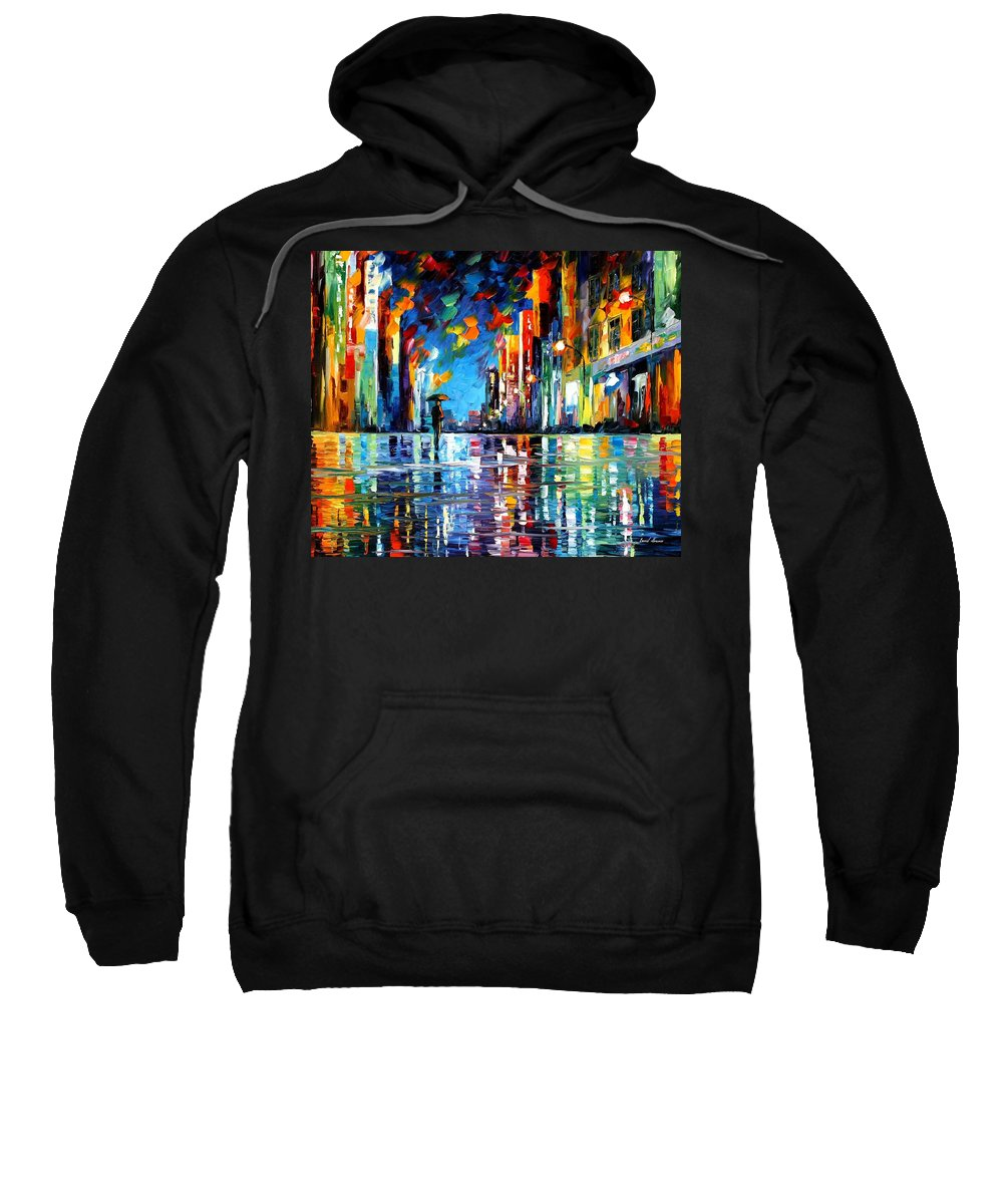 Oil Paintings Sweatshirt featuring the painting Reflections Of The Blue Rain - Palette Knife Oil Painting On Canvas By Leonid Afremov by Leonid Afremov