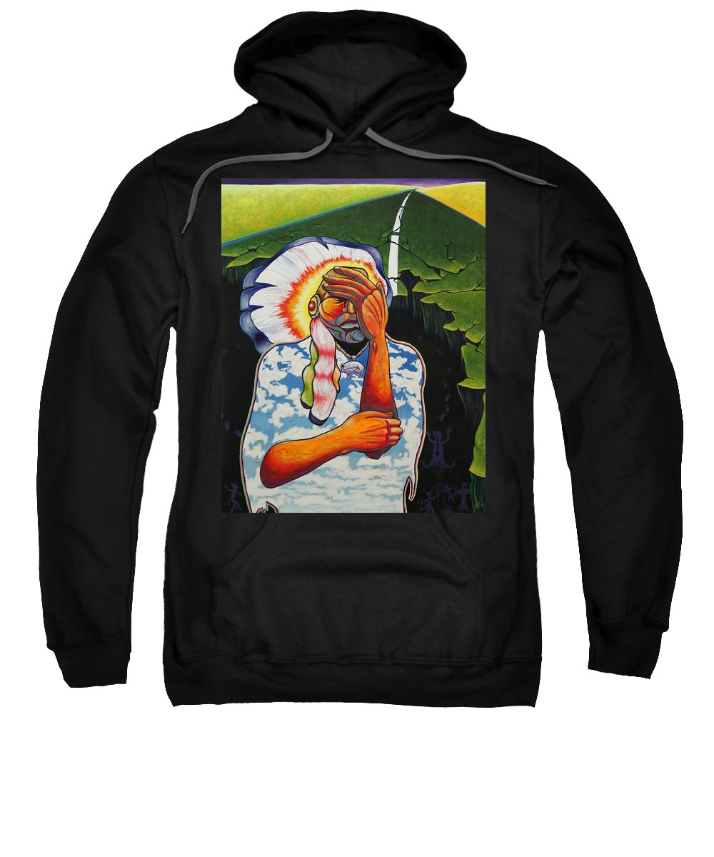 American Indian Sweatshirt featuring the painting Release Me by Joe Triano