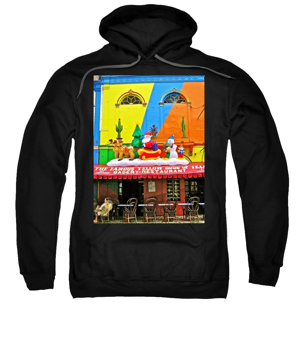 Restaurant In Gateway To The Amazon River In Iquitos Sweatshirt featuring the photograph Restaurant In Gateway To The Amazon River In Iquitos-peru by Ruth Hager