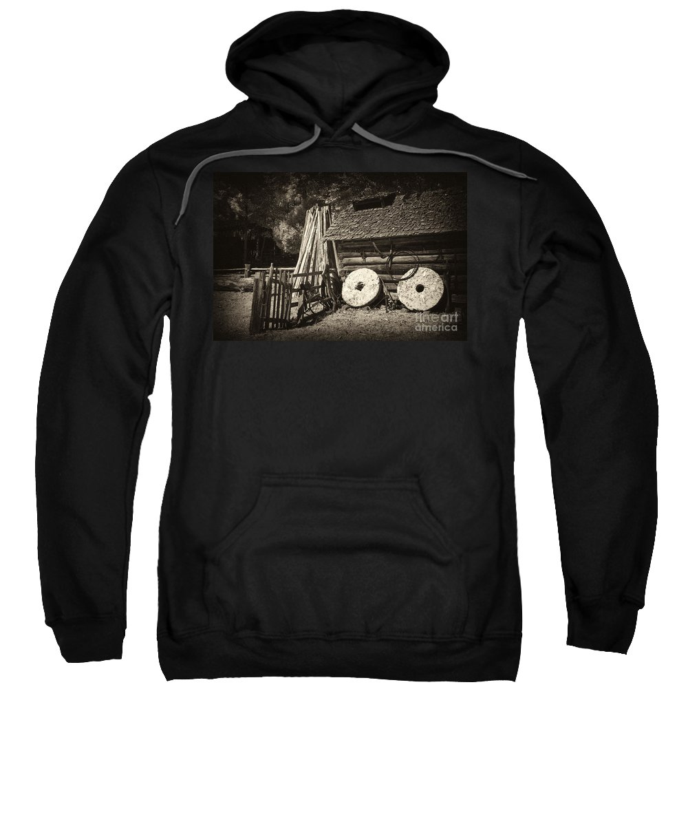 Mill Sweatshirt featuring the photograph Retired Mill Stones by Paul W Faust - Impressions of Light