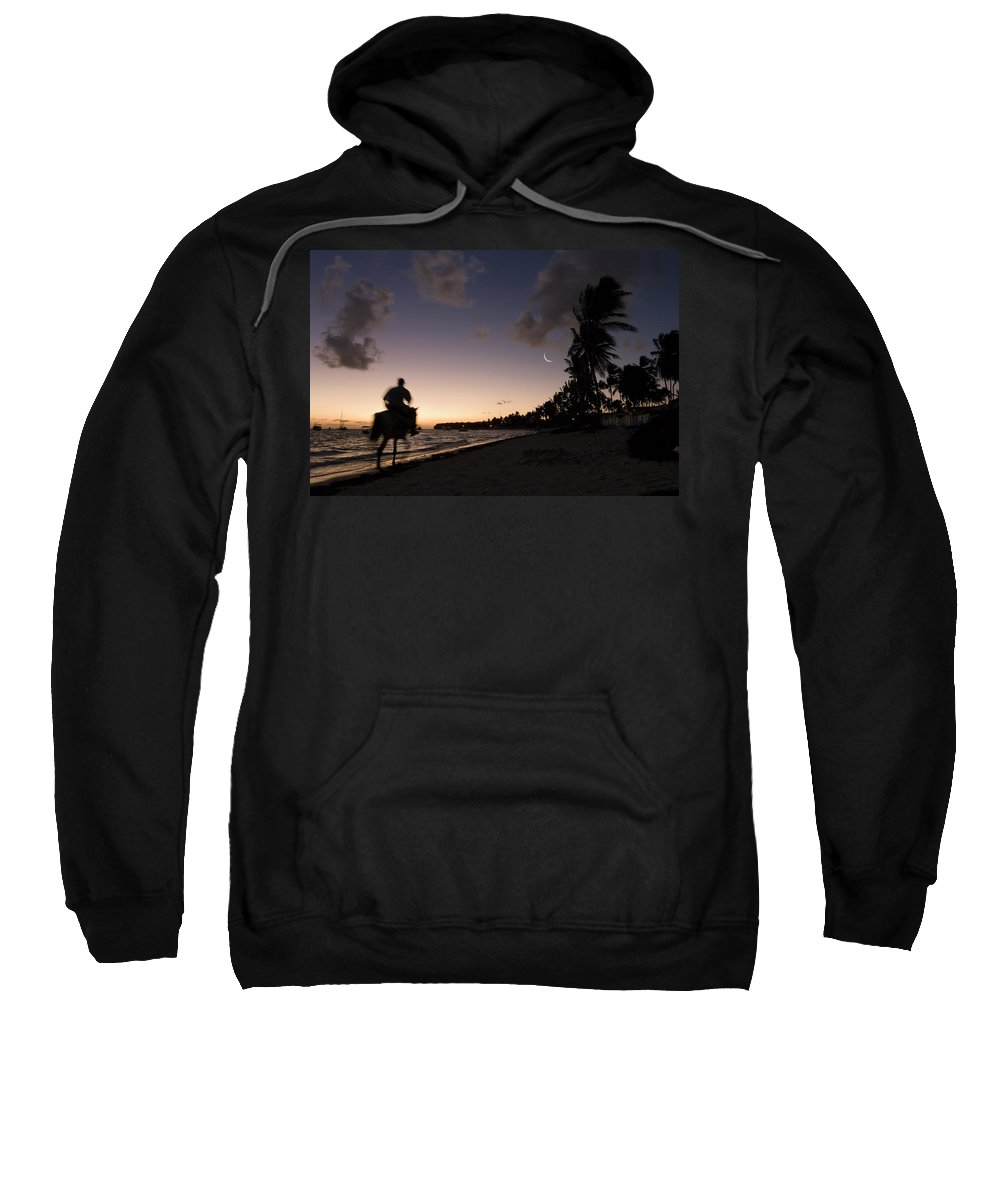 3scape Sweatshirt featuring the photograph Riding On The Beach by Adam Romanowicz