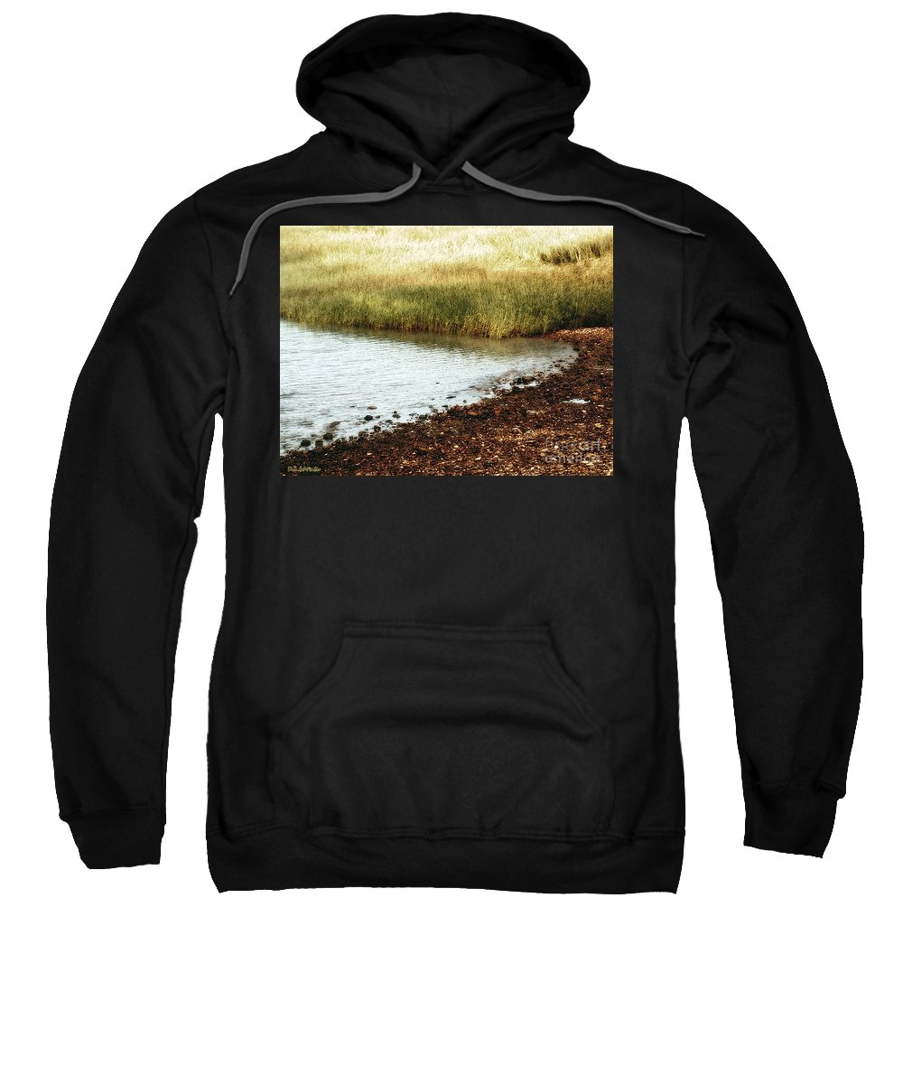 Marsh Sweatshirt featuring the painting Rippled Water Rippled Reeds by RC DeWinter