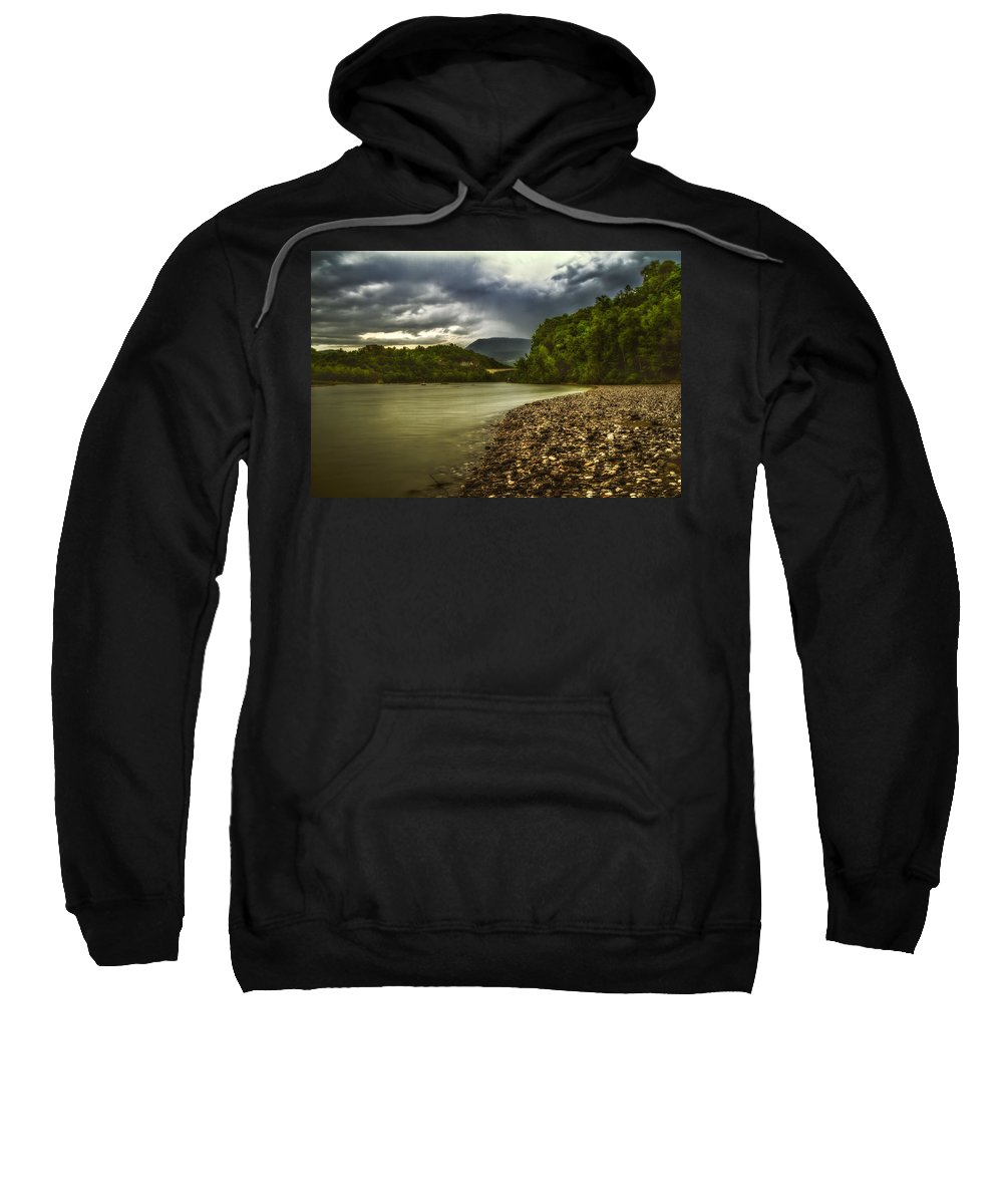 Color Efex Pro Sweatshirt featuring the photograph River Below The Clouds by Roberto Pagani