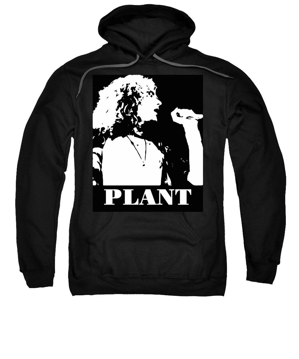 Robert Sweatshirt featuring the digital art Robert Plant Black And White Pop Art by David G Paul