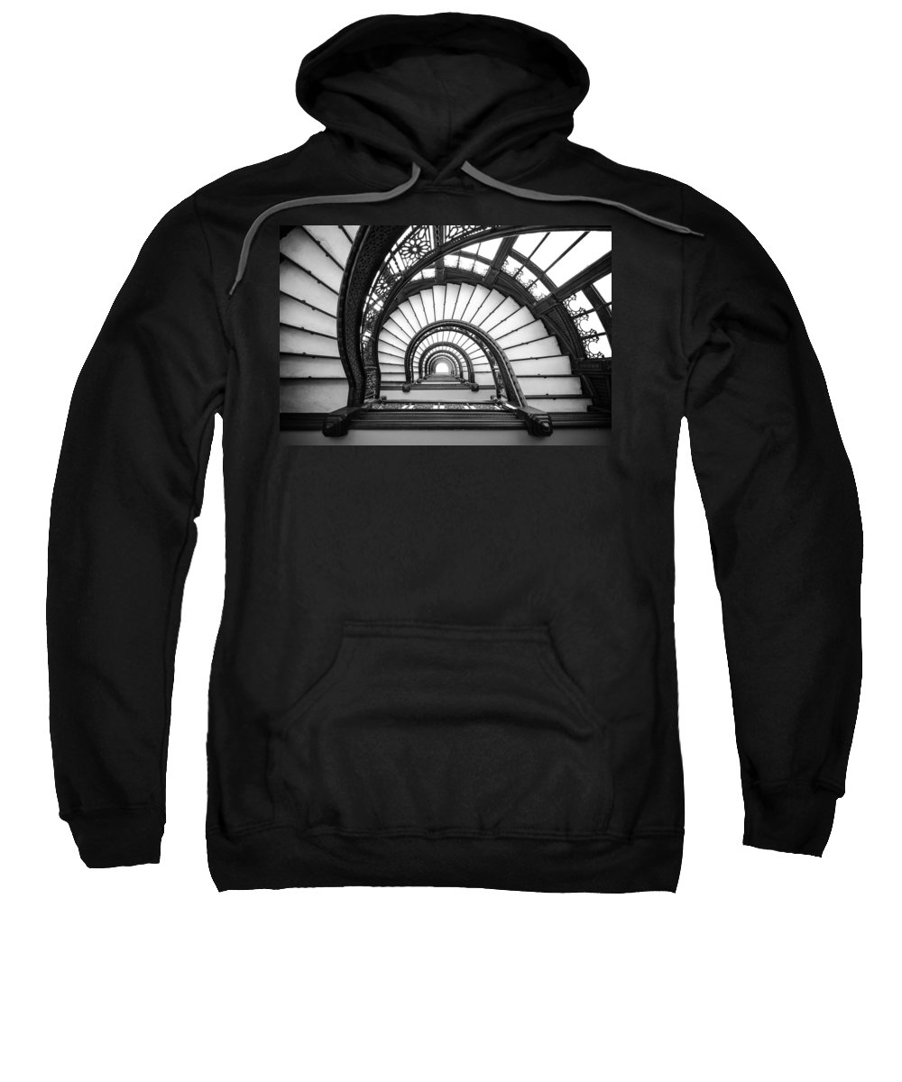 Chicago Sweatshirt featuring the photograph Rookery Building Oriel Staircase - Black And White by Anthony Doudt