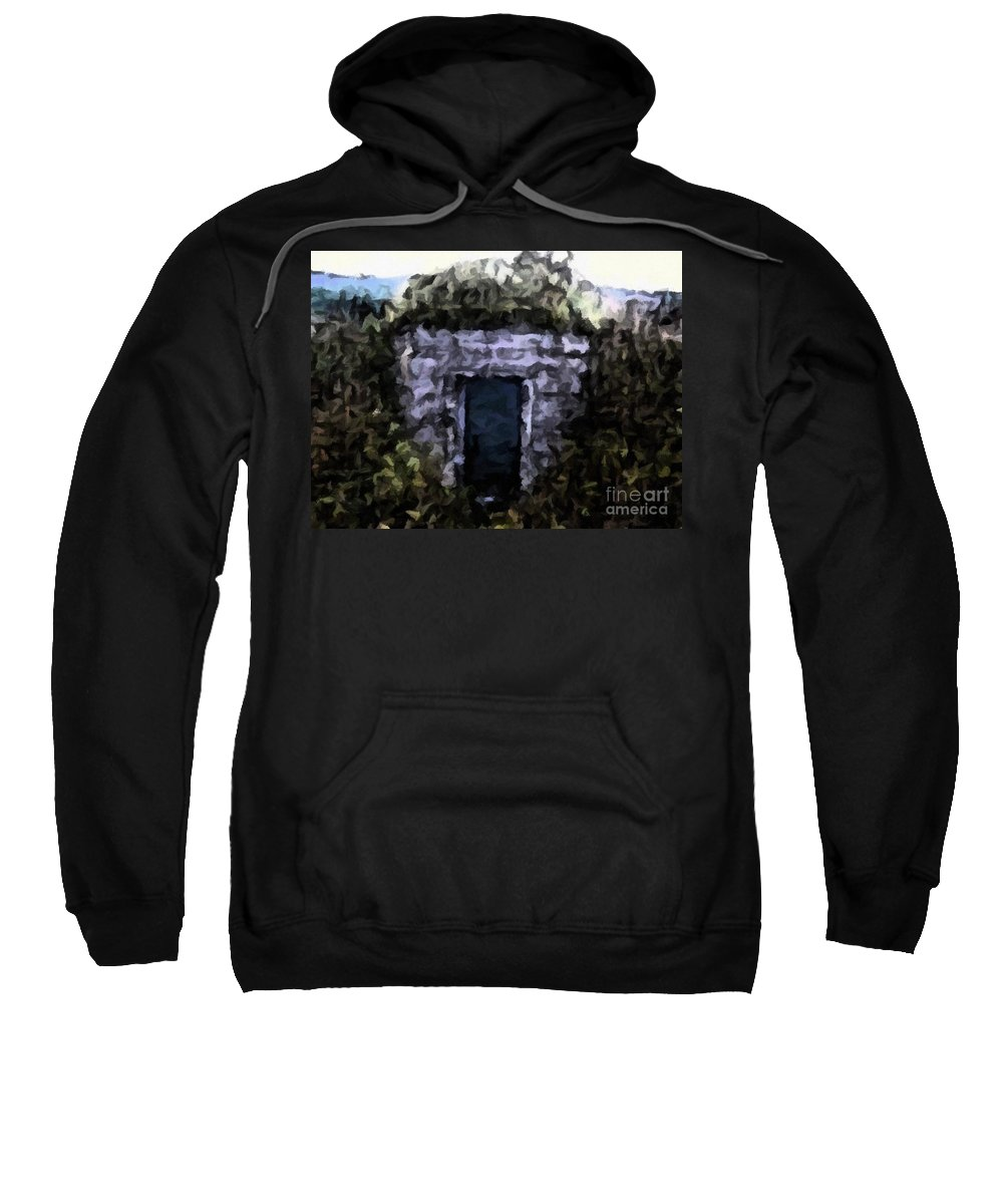 Root Cellar Abstraction Sweatshirt featuring the photograph Root Cellar Abstraction by Barbara Griffin