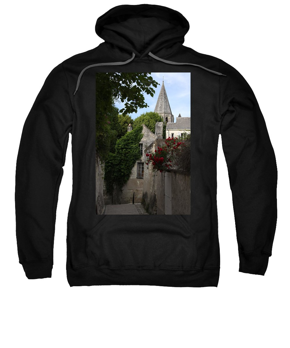 Narrow Street Sweatshirt featuring the photograph Rose Lane In Loches by Christiane Schulze Art And Photography