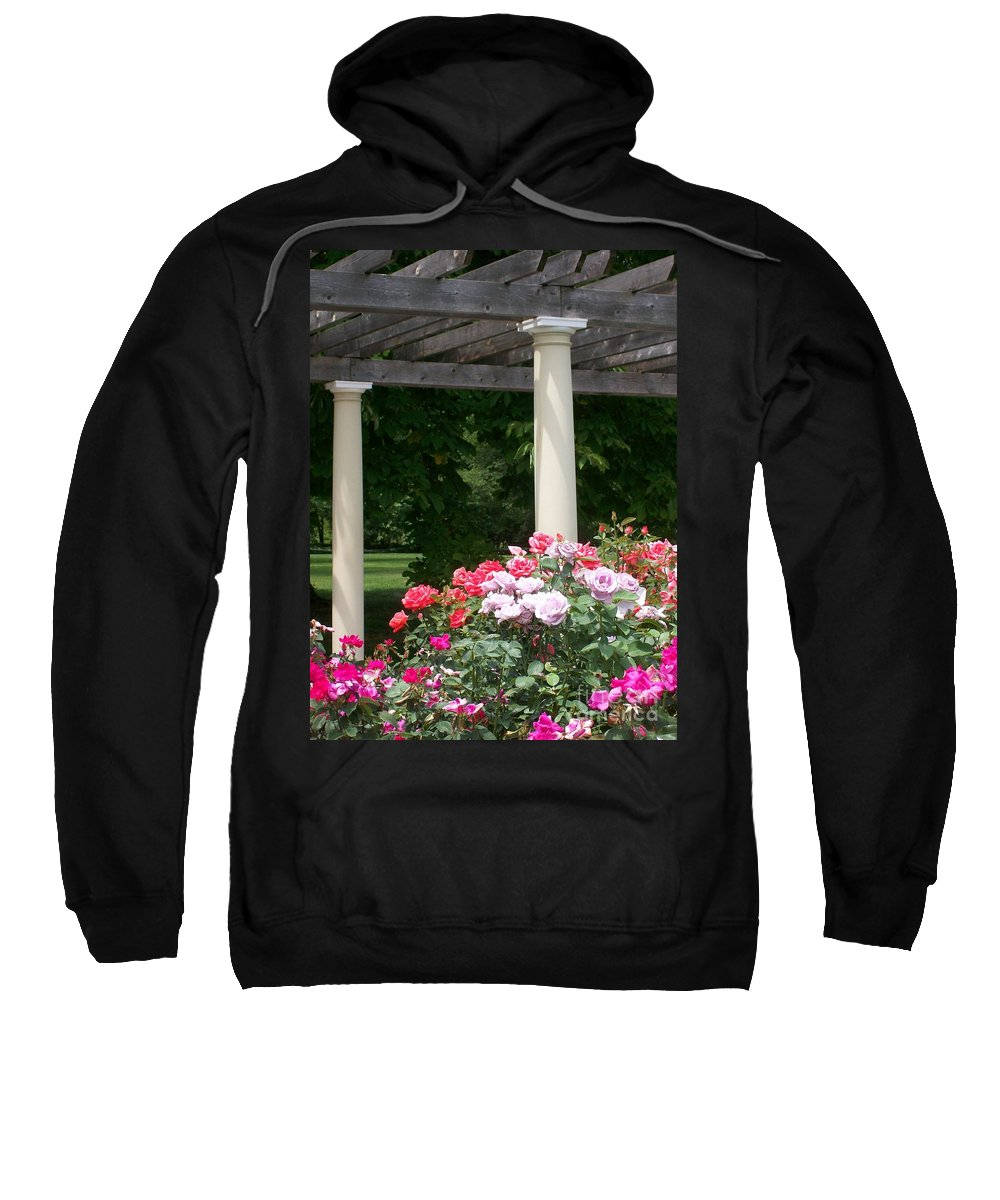 Rose Sweatshirt featuring the photograph Roses And Pergola by Laurie Eve Loftin