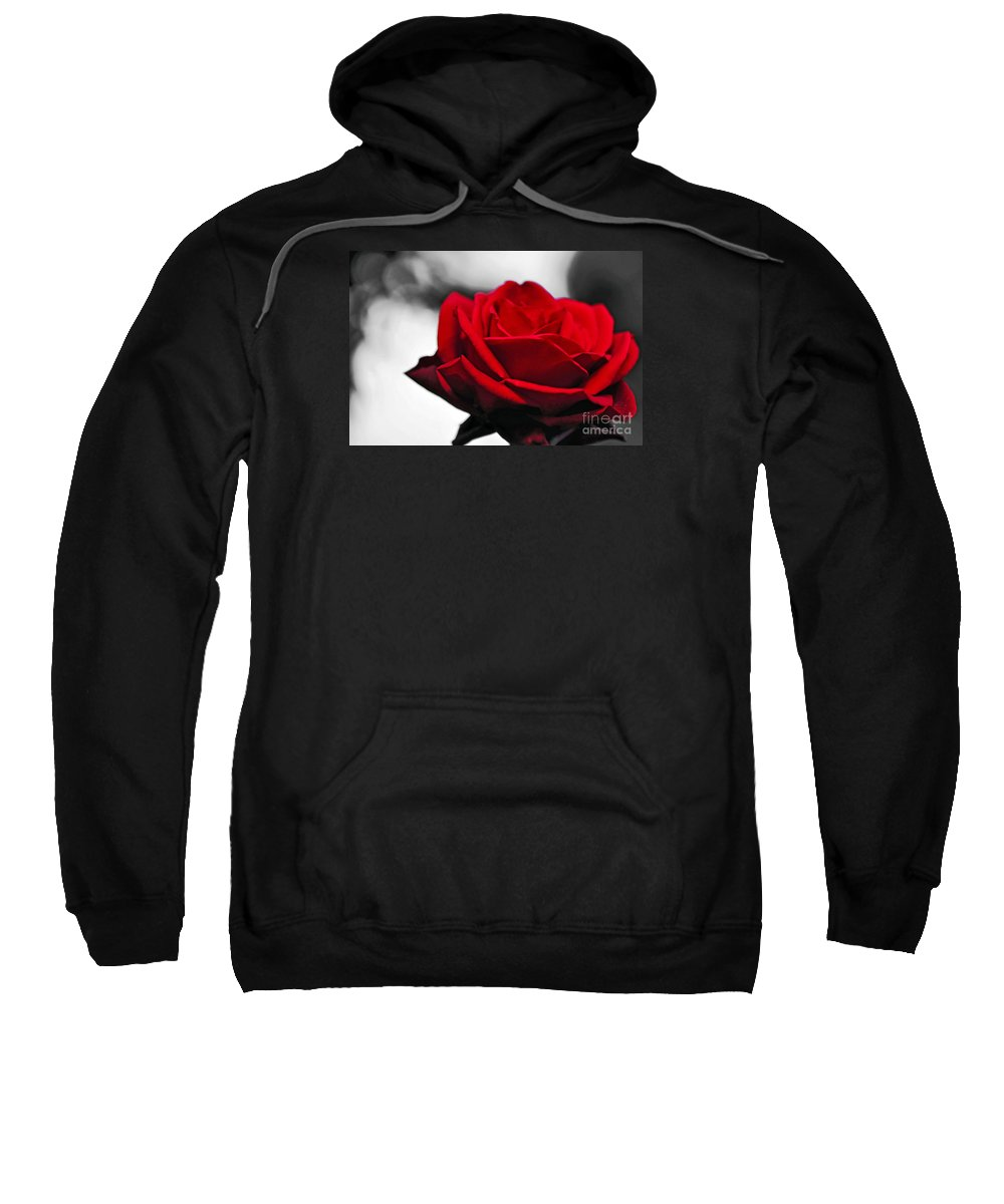 Photography Sweatshirt featuring the photograph Rosey Red by Kaye Menner