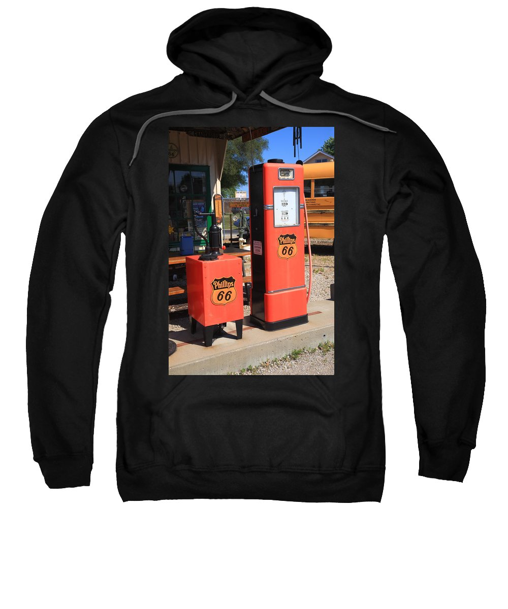 66 Sweatshirt featuring the photograph Route 66 Gas Pumps by Frank Romeo