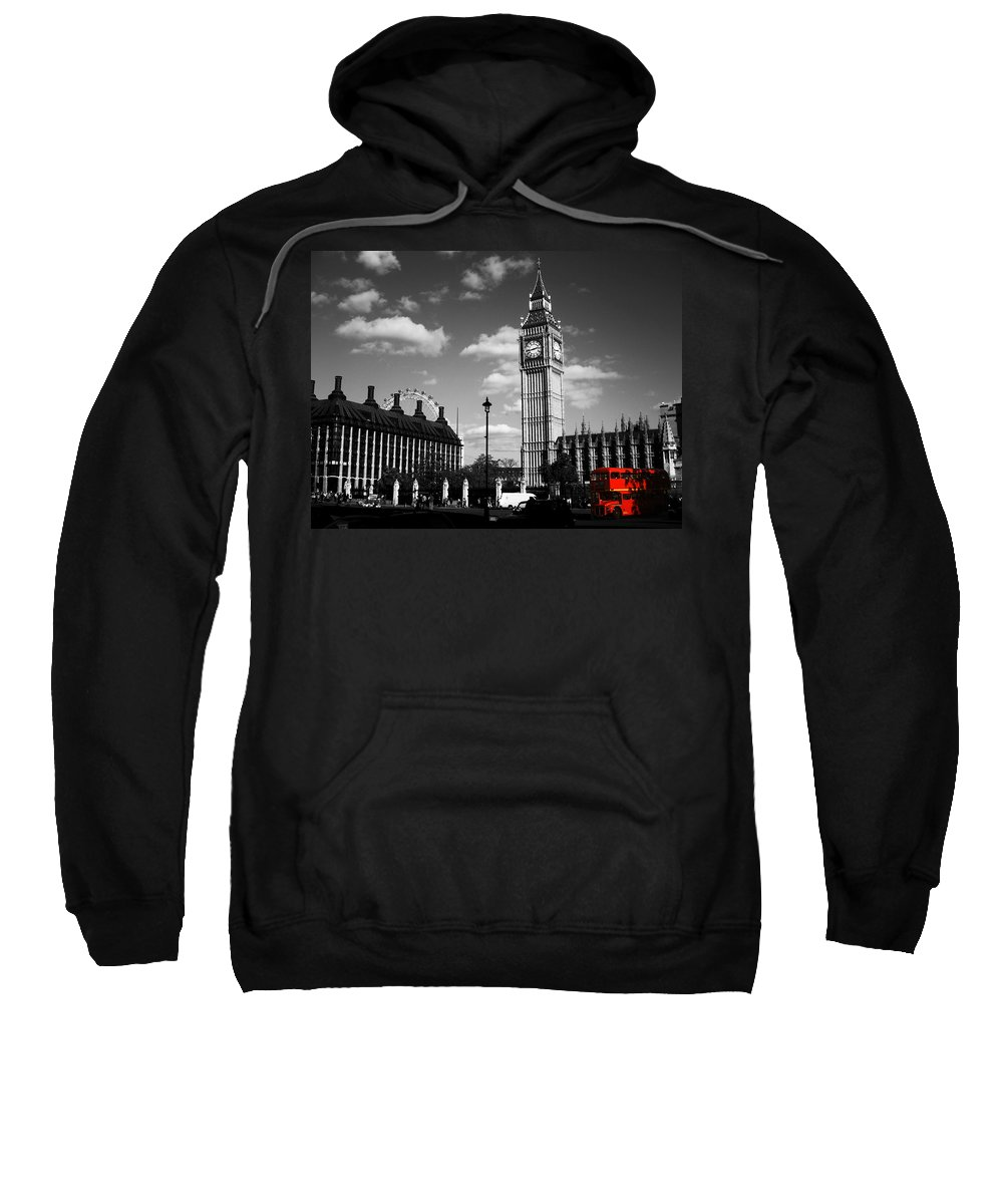 Bus Sweatshirt featuring the photograph Routemaster Bus On Black And White Background by Chris Day