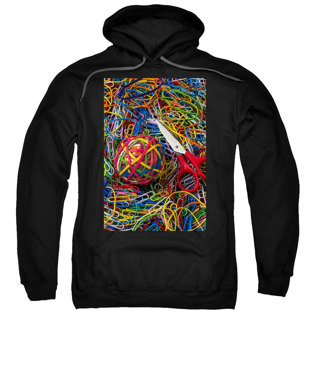 Rubber Band Sweatshirt featuring the photograph Rubber Band Ball With Sccisors by Garry Gay