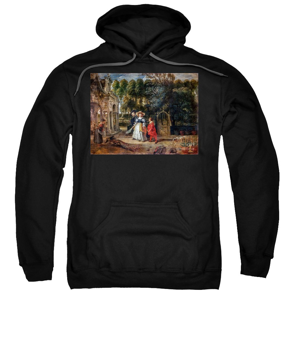Rubens Sweatshirt featuring the painting Rubens In His Garden With Helena Fourment by Viktor Birkus
