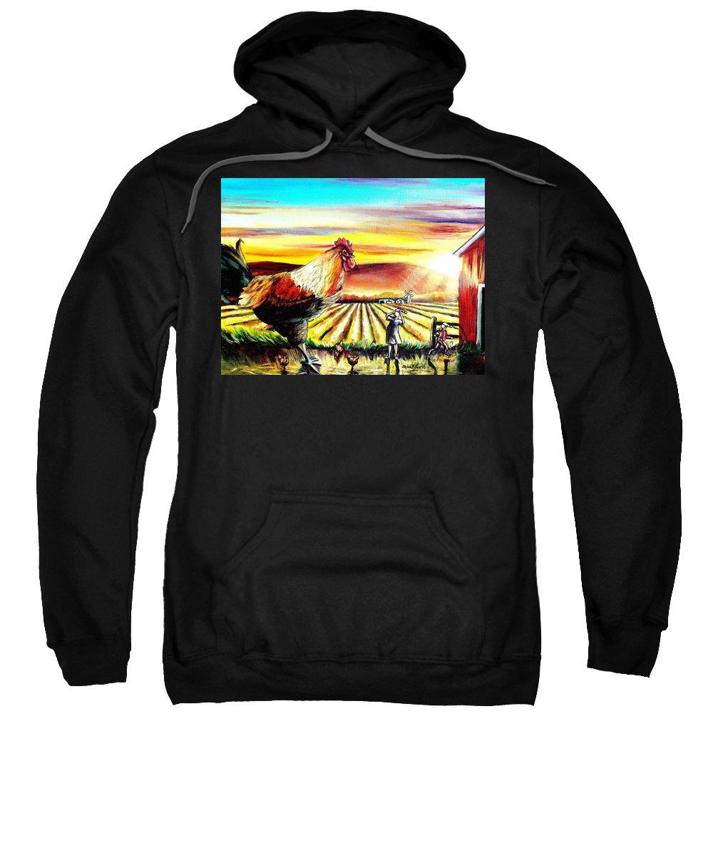 Rooster Sweatshirt featuring the painting Rude Awakening by Shana Rowe Jackson
