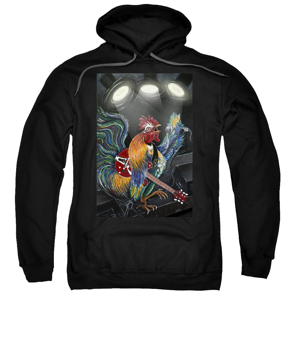 Rooster Sweatshirt featuring the painting Rulin' The Roost by Doug LaRue