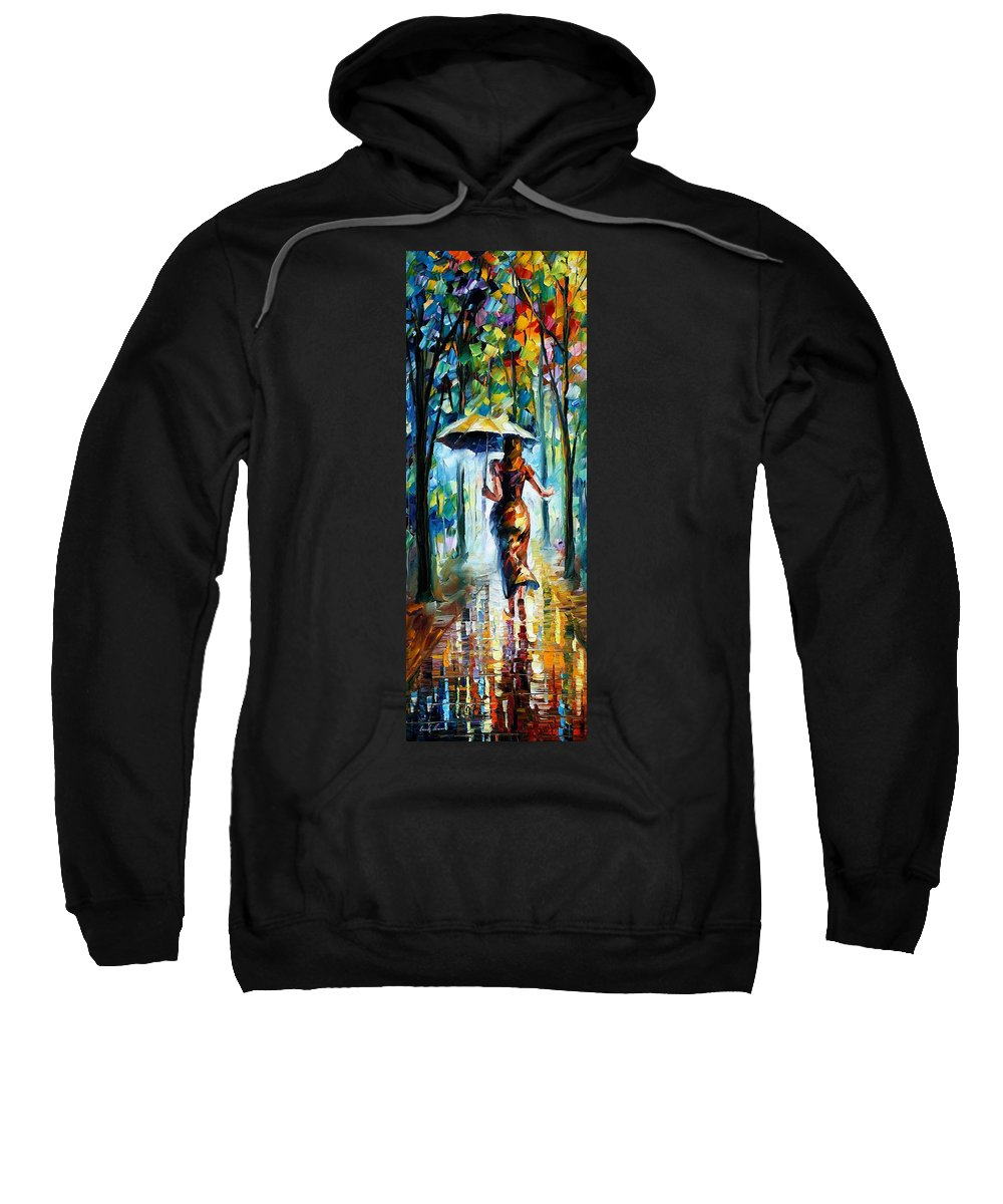 Oil Paintings Sweatshirt featuring the painting Running Towards Love - Palette Knife Oil Painting On Canvas By Leonid Afremov by Leonid Afremov