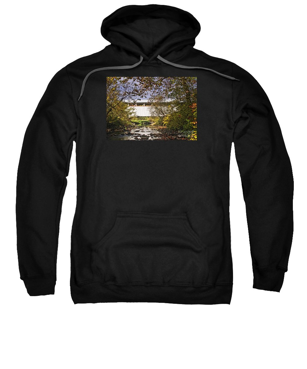 Ryot Covered Bridge Sweatshirt featuring the photograph Ryot Covered Bridge And Stream by Timothy Flanigan