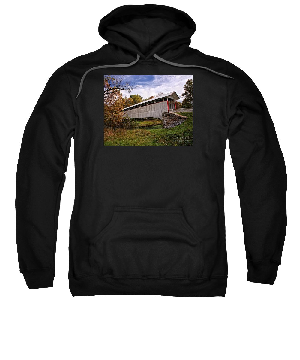Covered Bridges Sweatshirt featuring the photograph Ryot Covered Bridge by Timothy Flanigan