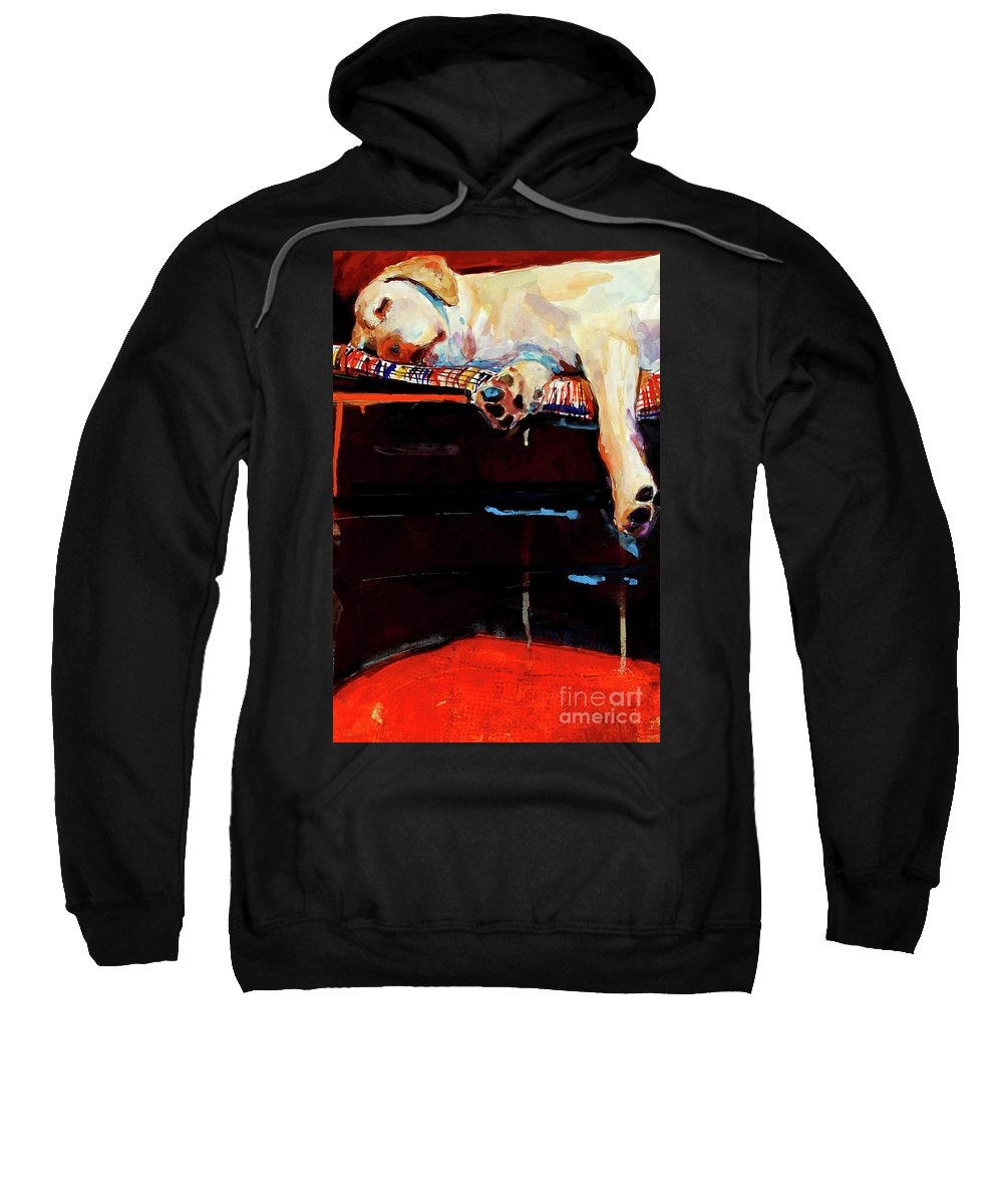 Dog Sleeping Sweatshirt featuring the painting Sacked by Molly Poole