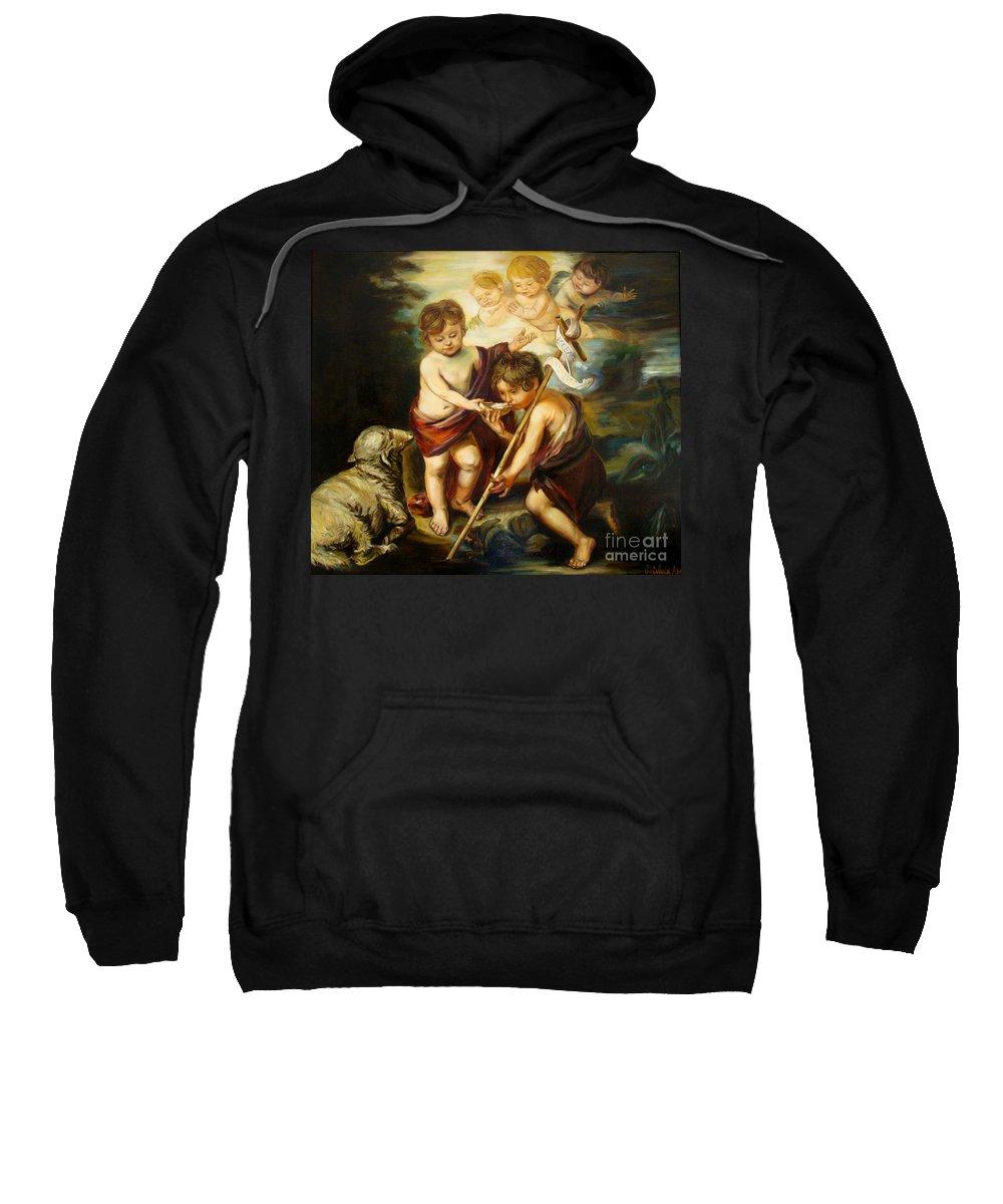 Classic Art Sweatshirt featuring the painting Saint John Baptist by Silvana Abel