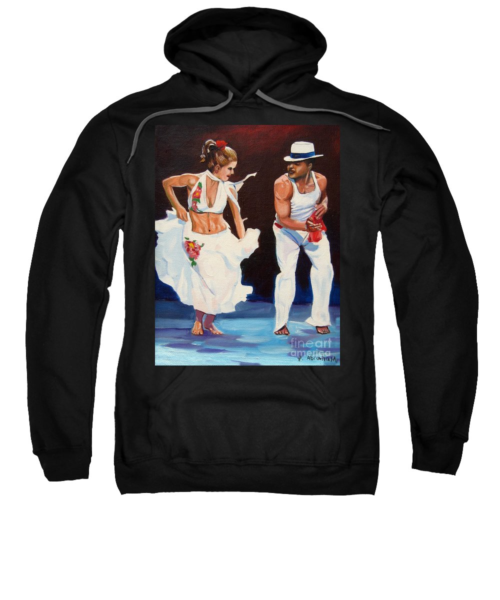 Dancing Sweatshirt featuring the painting Salsa by Jose Manuel Abraham