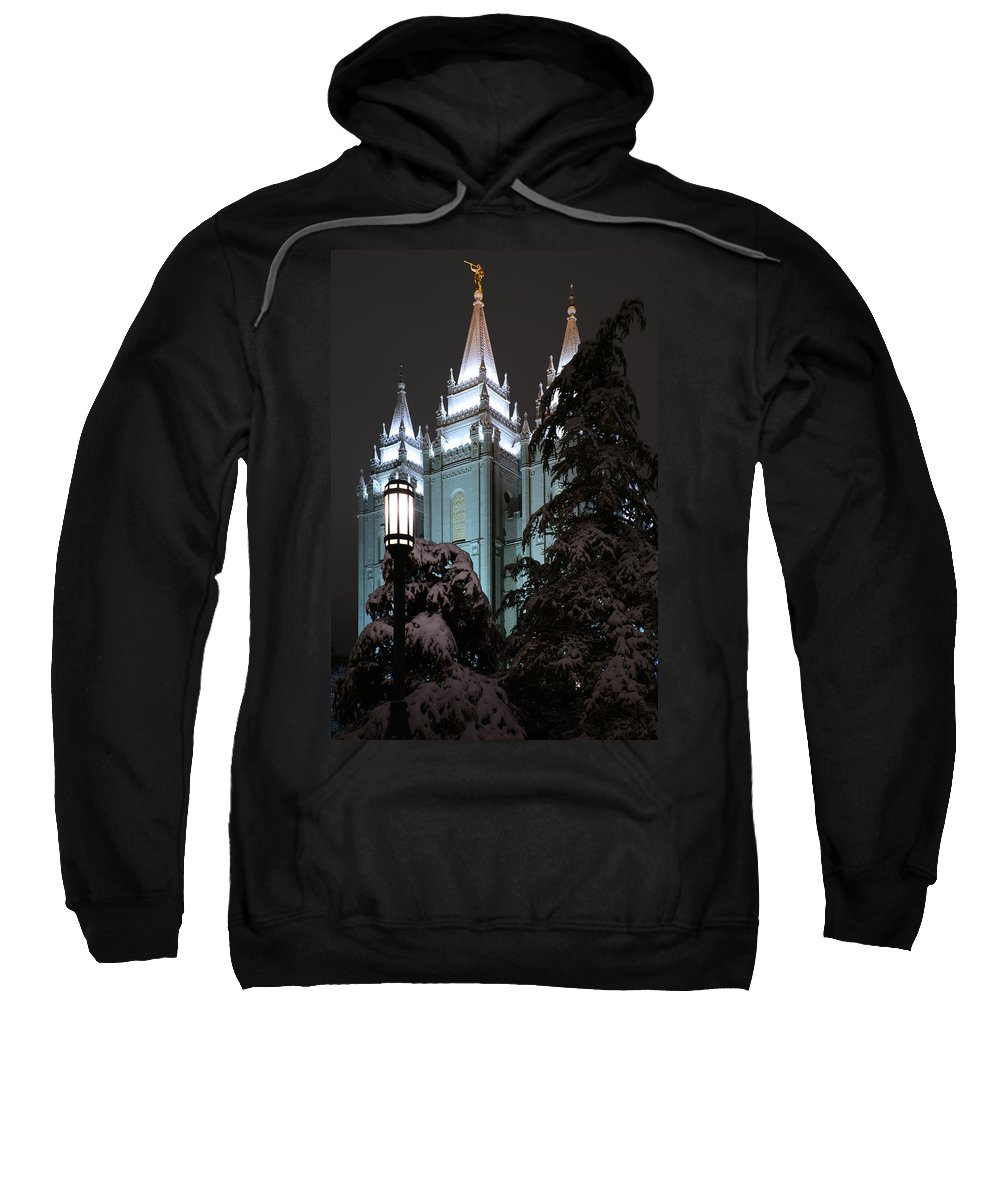 Mormon Sweatshirt featuring the photograph Salt Lake Temple In The Snow by Dustin LeFevre