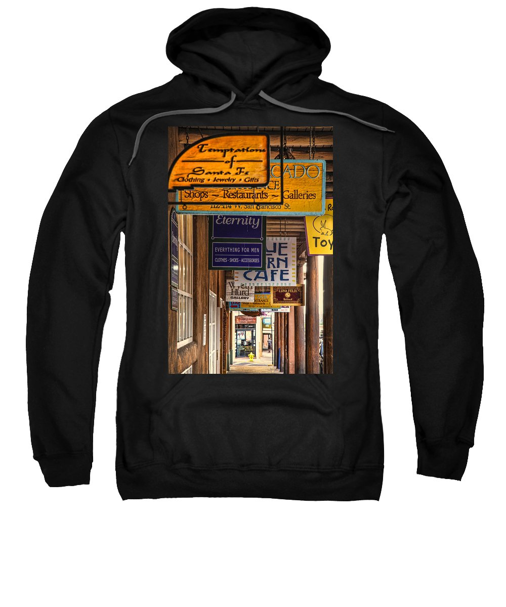 Santa Fe Sweatshirt featuring the photograph San Francisco Street Shops by Diana Powell
