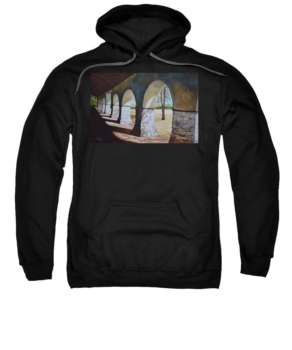 California Landmark Sweatshirt featuring the painting San Juan Bautista Mission by Mary Rogers