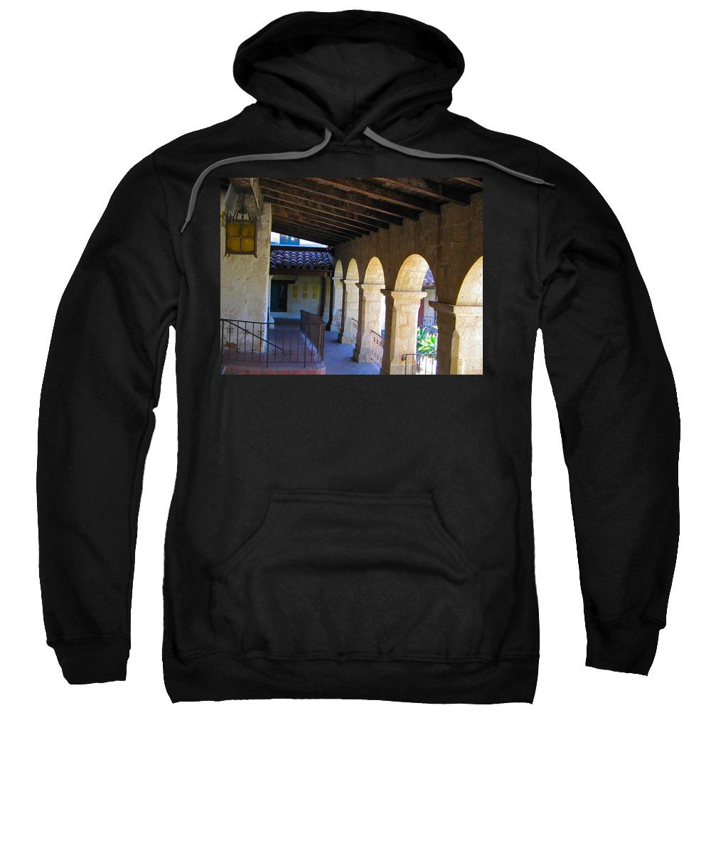 Mission Sweatshirt featuring the photograph Santa Barbara Mission Cloister by Denise Mazzocco
