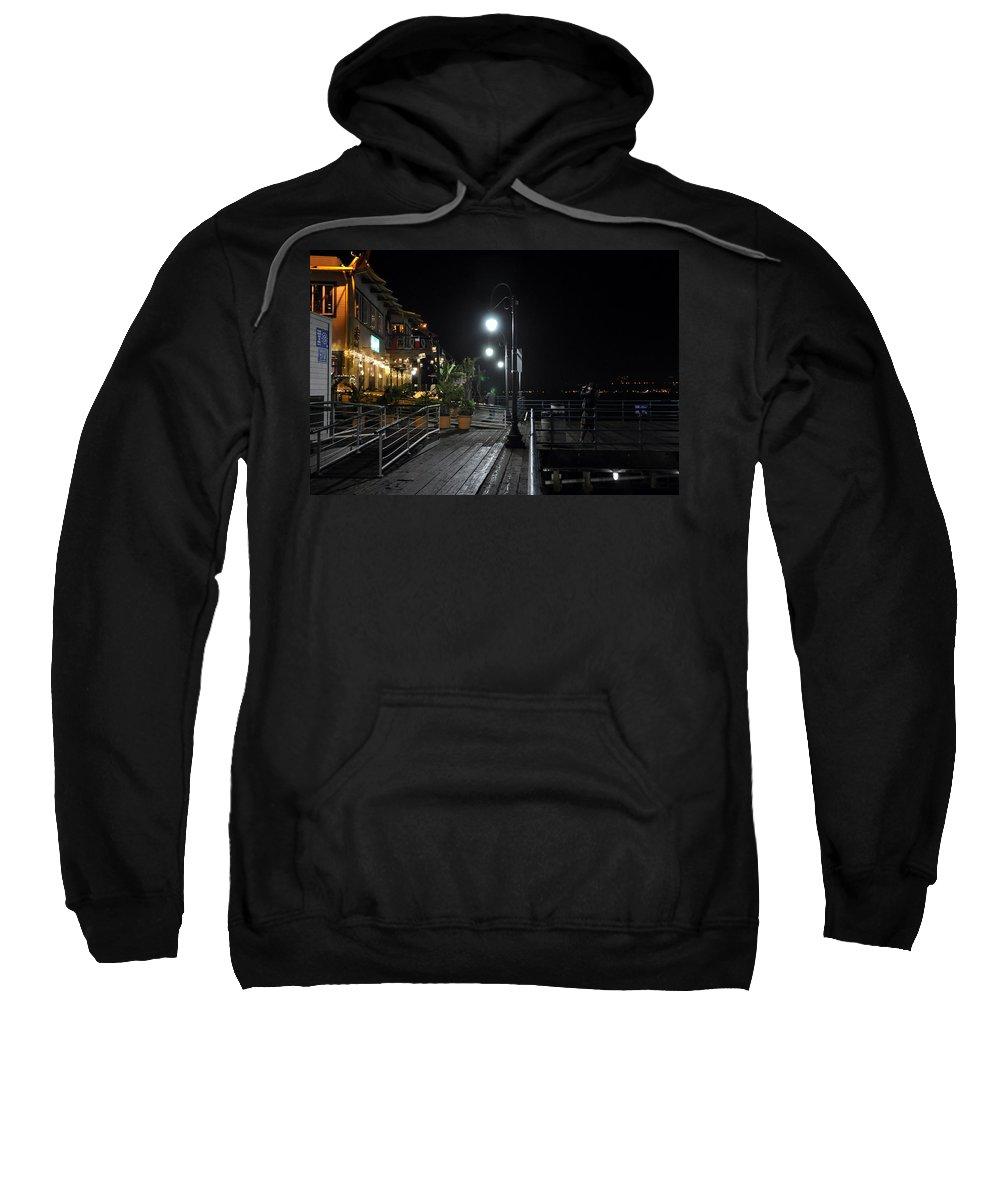 Santa Monica Sweatshirt featuring the digital art Santa Monica Pier by Gandz Photography