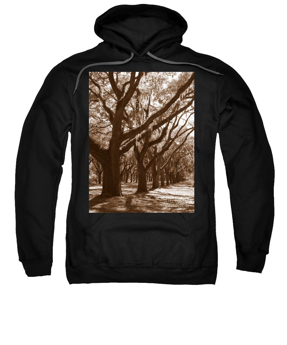 Savannah Sweatshirt featuring the photograph Savannah Sepia - Glorious Live Oaks by Carol Groenen