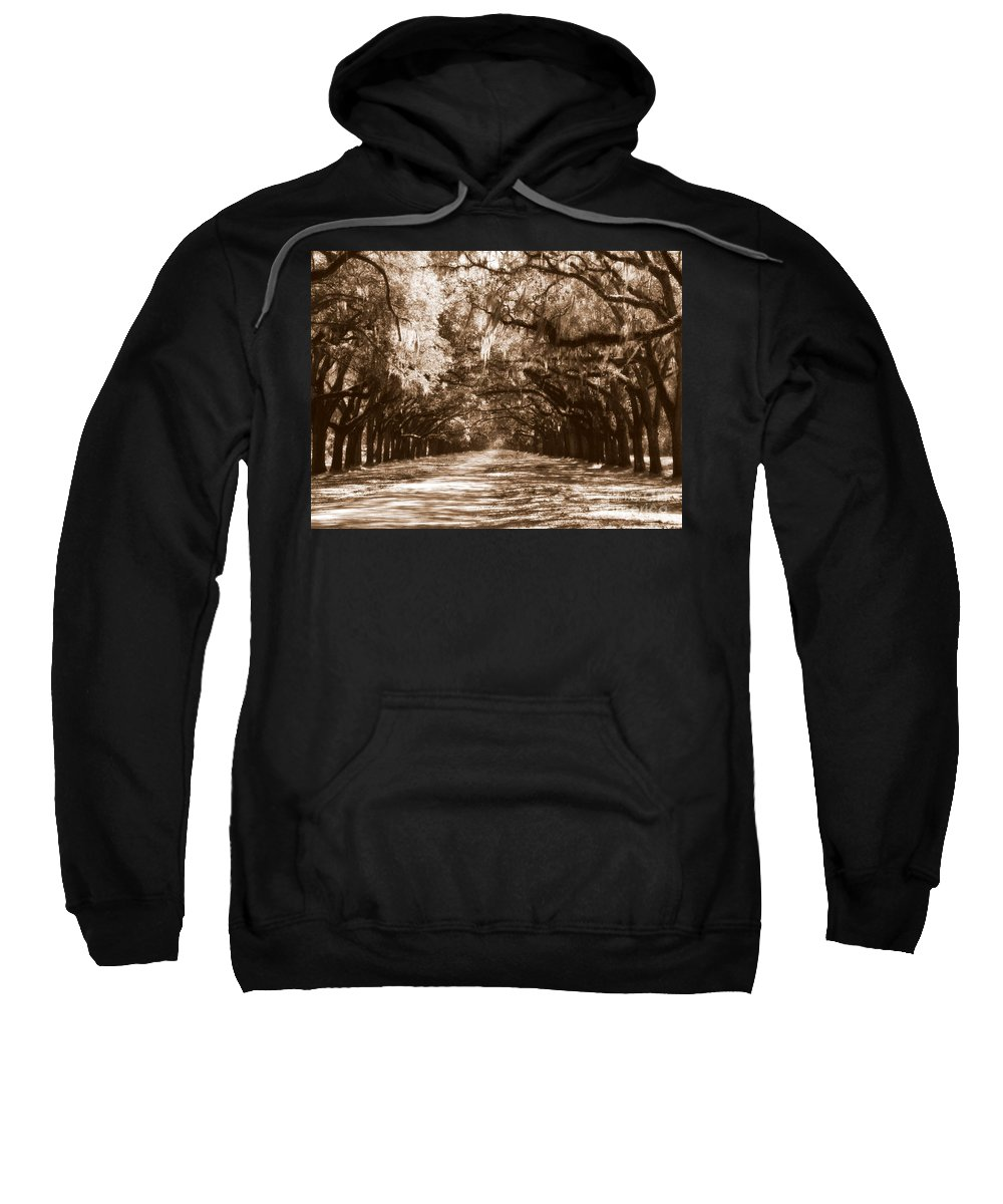 Savannah Sweatshirt featuring the photograph Savannah Sepia - The Old South by Carol Groenen