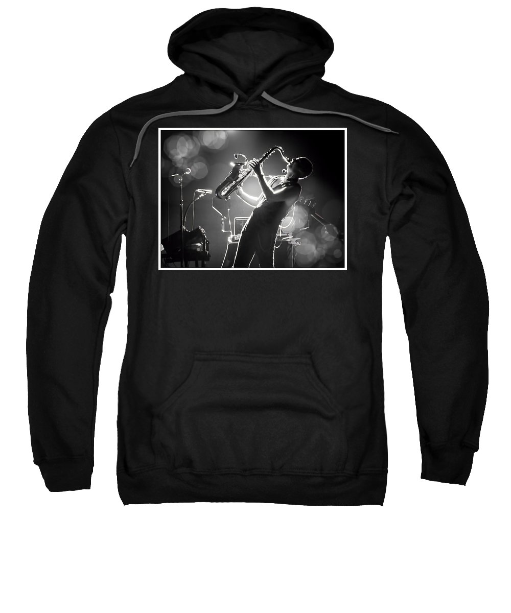 Saxophonist Sweatshirt featuring the photograph Sax In Black by Alice Gipson