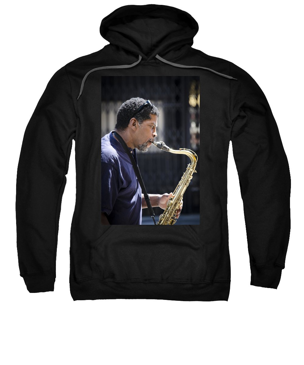 Saxophone Sweatshirt featuring the photograph Saxophone Player by Carolyn Marshall