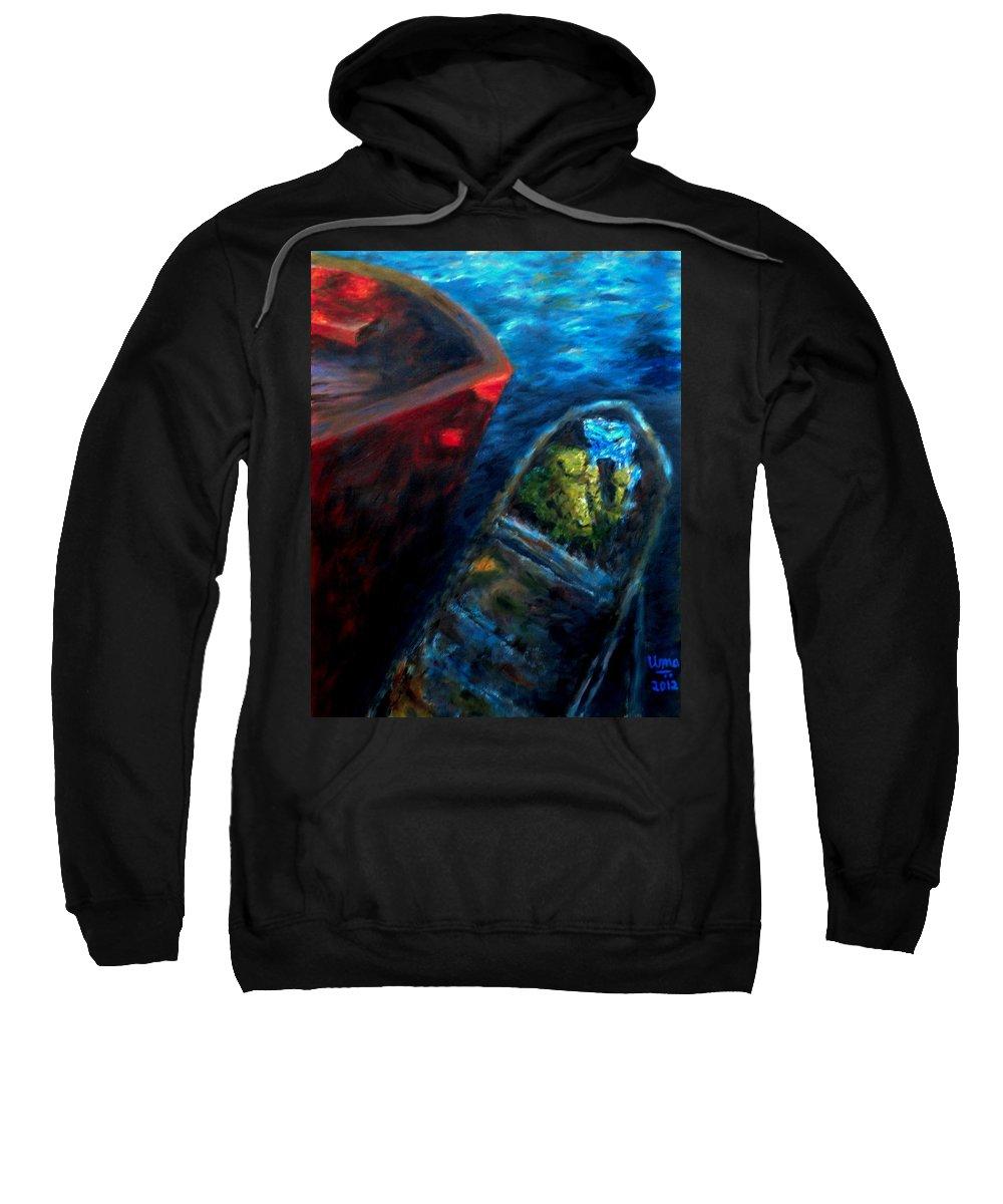 Oil On Canvas Sweatshirt featuring the painting Seascape Series 7 by Uma Krishnamoorthy