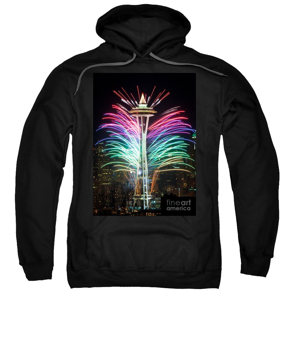Space Needle Sweatshirt featuring the photograph Seattle New Year by Inge Johnsson