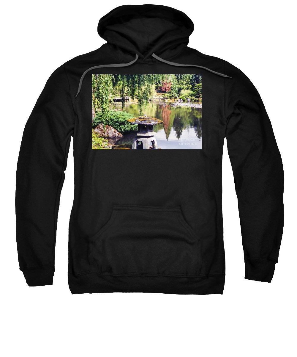 Japanese Tea Garden Sweatshirt featuring the photograph Seattle Tea Garden Reflections by Bob Phillips