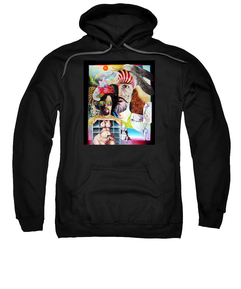 Surrealism Sweatshirt featuring the painting Selfportrait With The Critical Eye by Otto Rapp