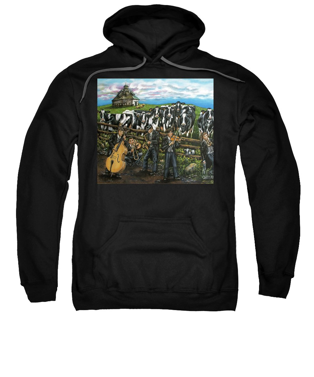 Linda Simon Sweatshirt featuring the painting Semi-formal by Linda Simon
