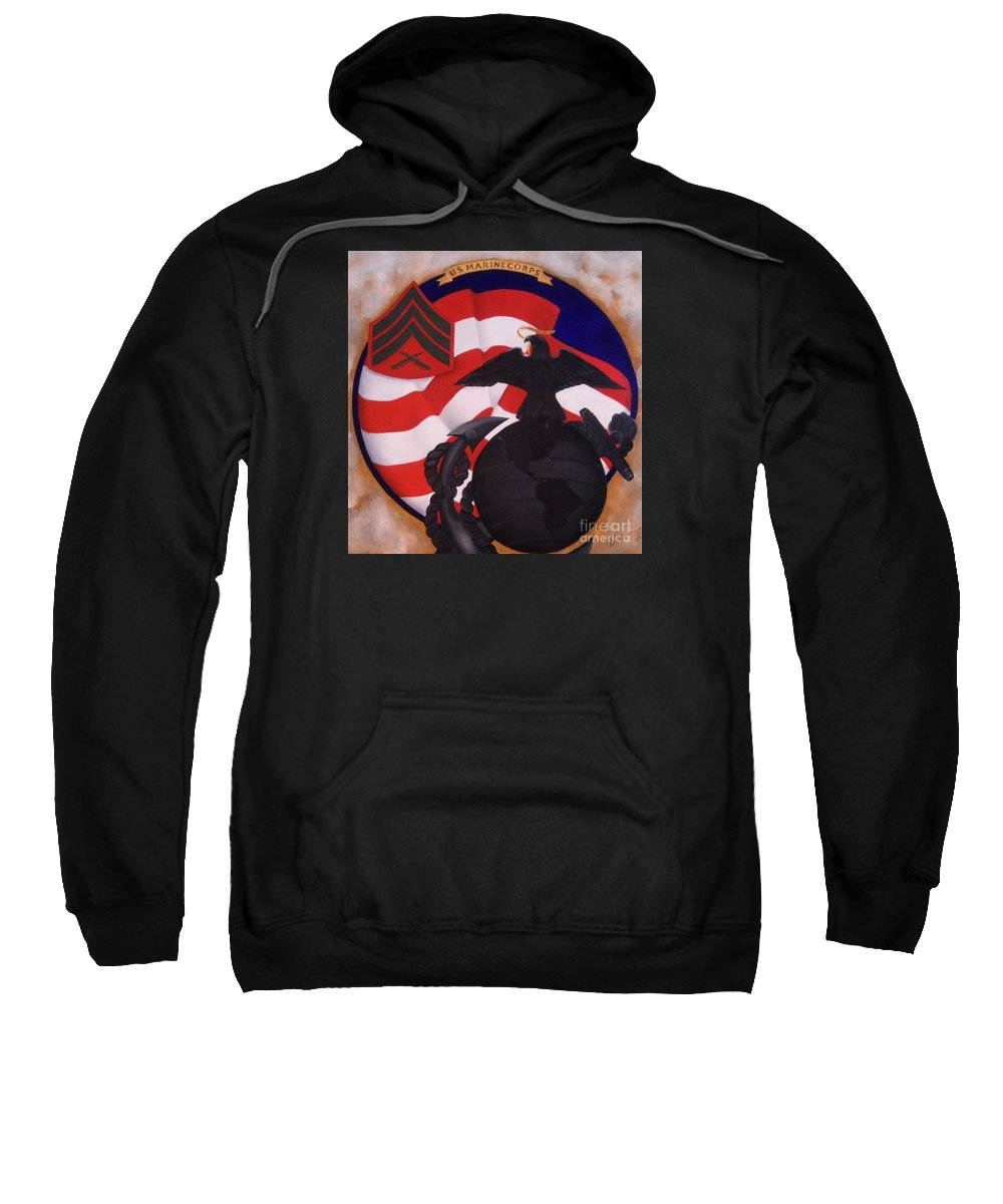 Military Paintings Sweatshirt featuring the painting Semper Fidelis by D L Gerring